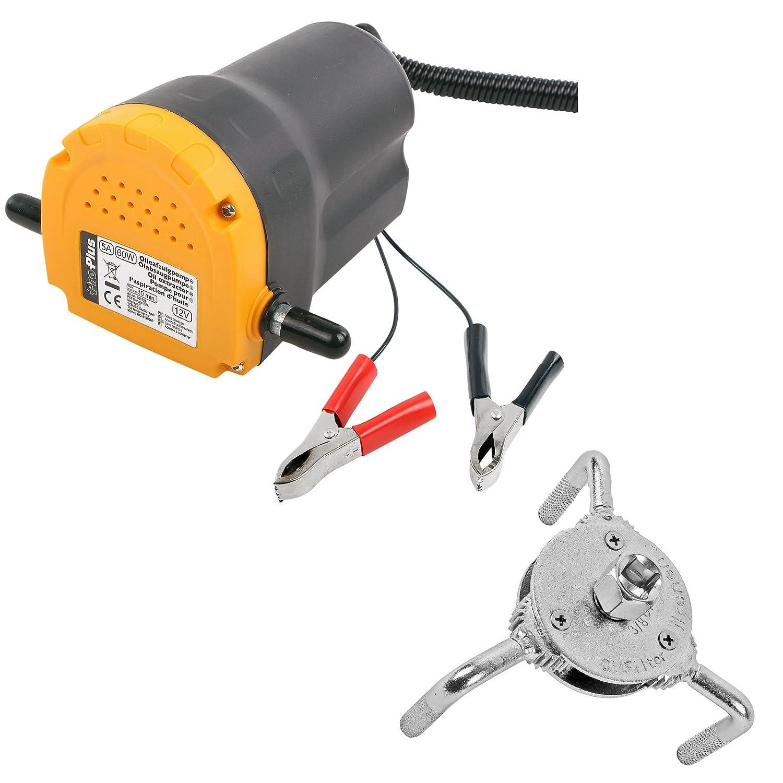 Pompe à huile 12V 60W Laiton lamelles 3ltr Minute + ölfilterschlüssel 3bras Pat