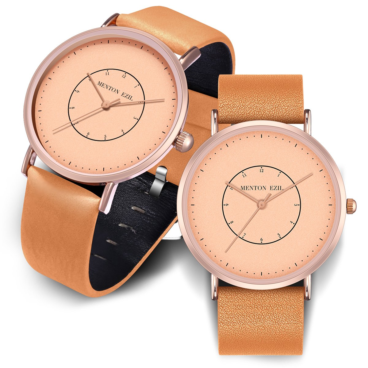 Wooden Couple Watch for Women Men Friendship Relationship 30M Waterproof Classic Quartz Analog Rose Gold Wrist Watches with Brown Leather (Light Brown)