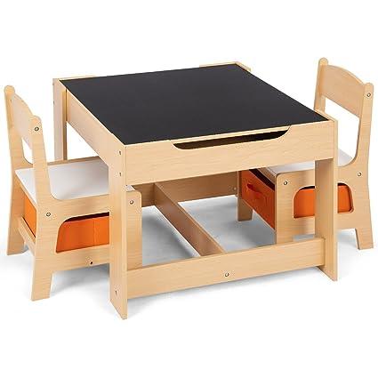 Sedie E Tavoli In Legno Per Bambini.Goplus Set Tavolo E 2 Sedie Multifunzione Lavagna Per Bambini In
