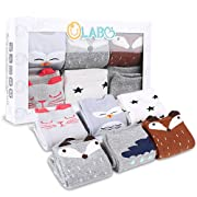 Baby Socks Newborn Socks Baby Knee High Socks Animal Theme Gift Unisex 6 Pack Set by OLABB (Unisex B, S 0-12 months)