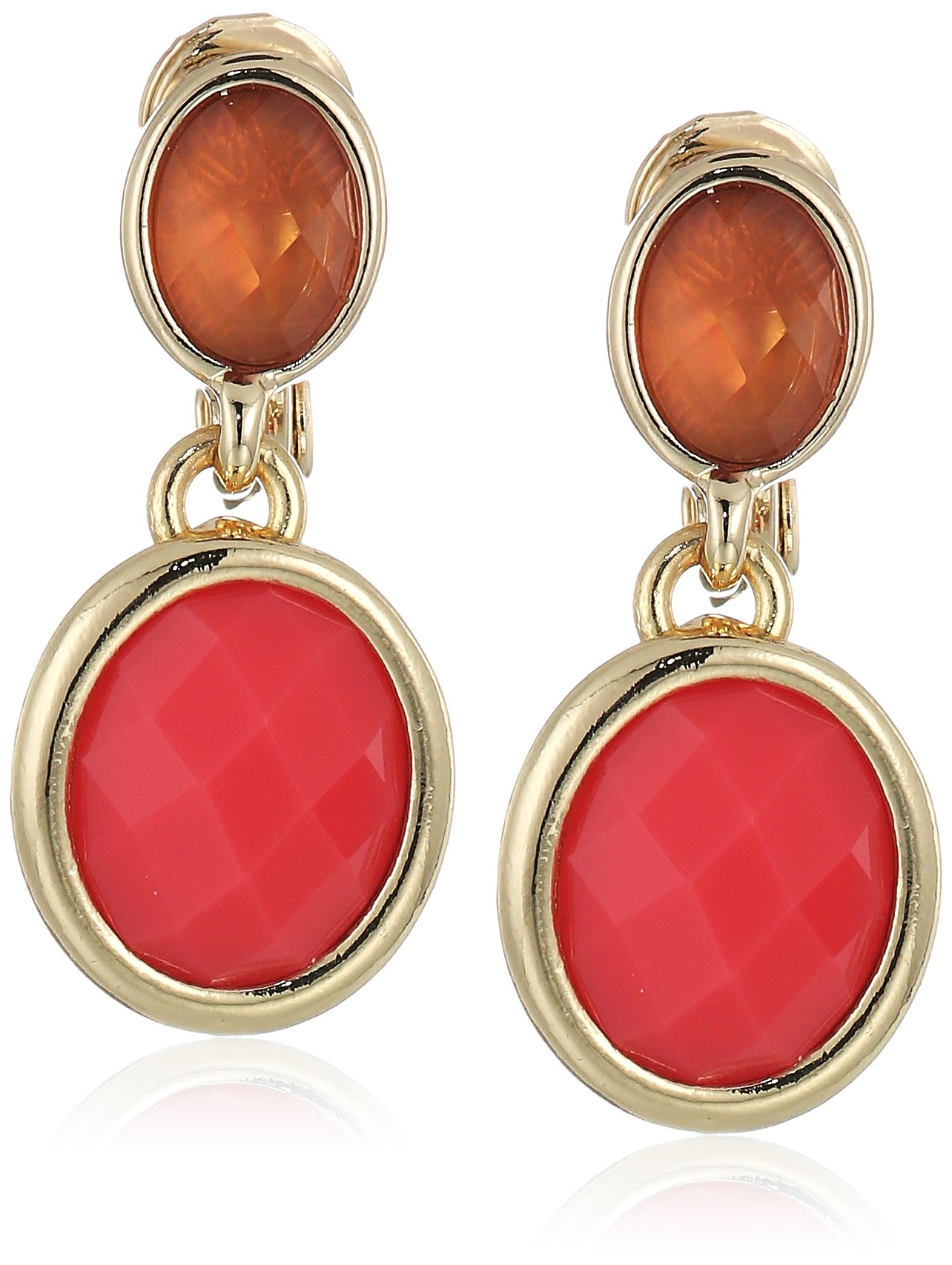 Anne Klein Women's Gold Tone and Coral Stone Post Drop Clip On Earrings
