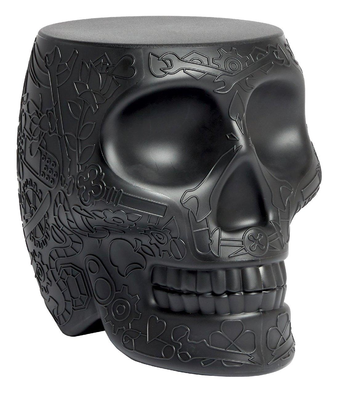 Qeeboo Mexico Hocker und Beistelltisch, Polyethylen, Schwarz, 38.2 x 53 x 45 cm