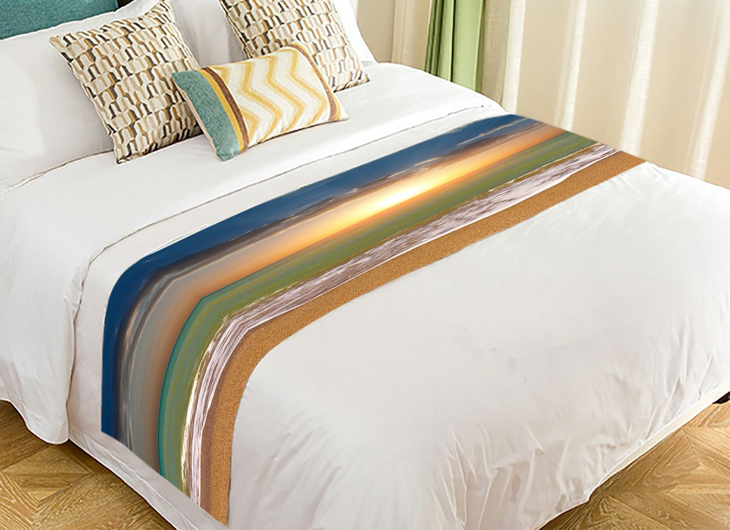PicaqiuXzzz Custom Seascape Bed Runner, Ocean Beach Sunset Bed Runners And Scarves Bed Decoration 20x95 inch