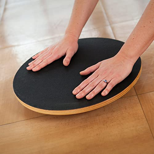 j fit Large Round Fixed Angle Balance Board 16 Durable Wooden Wobble Platform Improve Agility
