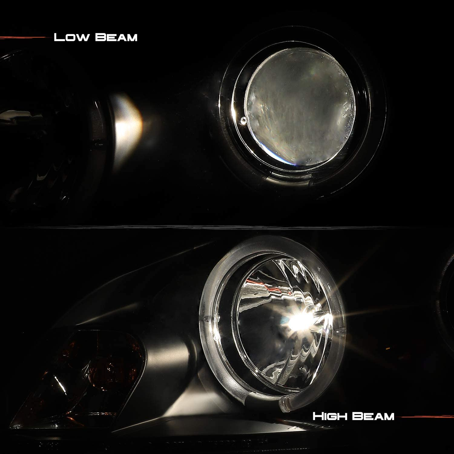 For Chevy Impala Monte Carlo Black Bezel Halo Ring Projector Replacement Headlights Left//Right Lamps