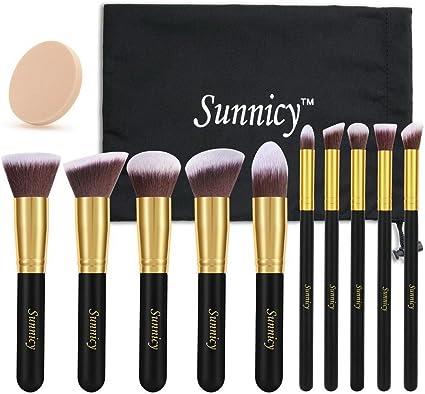 Sunnicy - Juego de brochas de maquillaje Kabuki (10 unidades) con pelo sintético, incluye estuche, color negro y amarillo: Amazon.es: Belleza