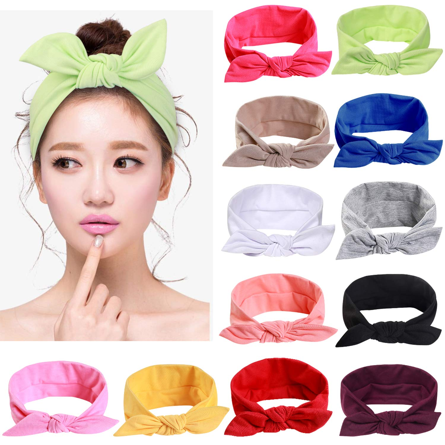 12pcs Solid Color Women Headbands Headwraps Hair Band Cotton Stretchy Turban Bows Accessories for Women Fashion Sport: Beauty