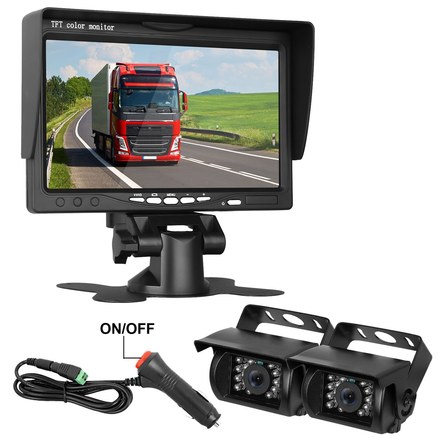HD 720P Backup Camera and 7'' Monitor Kit, 2 Cameras for School Bus/Trailer/RV/Truck/Pick up/Van Rear View Camera Single Power System IP68 Waterproof Night Vision Driving/Reversing Use