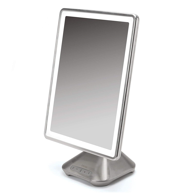 "iHome 10"" x 13"" Reflect PRO Portable, Adjustable Vanity Mirror with Bluetooth Audio, Hands-Free Speakerphone, LED Lighting, Siri & Google Voice Assistant USB Charging, LED Lighting iCVBT10"