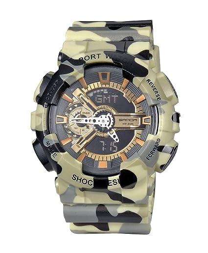 Camuflaje de alarma de los hombres del deporte del reloj LED Digital relojes al aire libre militar a prueba de golpes reloj luminoso: Amazon.es: Relojes