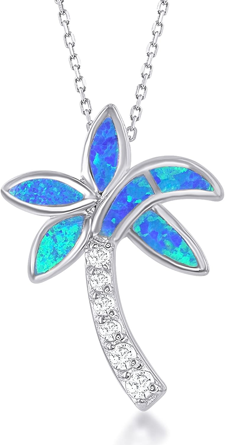 """Sterling Silver Created Blue Opal & CZ Palm Tree Pendant with 18"""" Chain"""