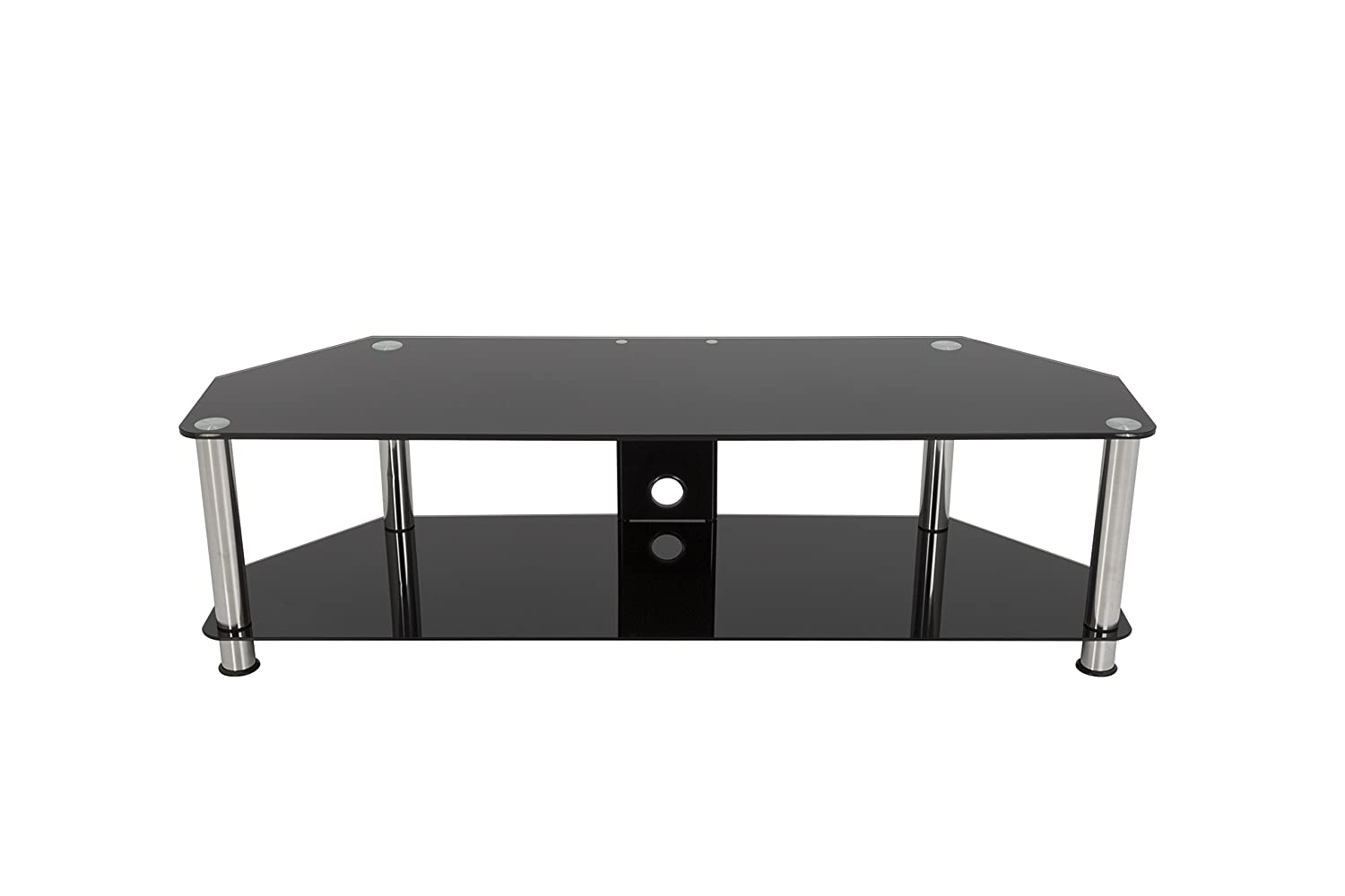 AVF SDC1400CM-A TV Stand with Cable Management for up to 65-inch TVs, Black Glass, Chrome Legs
