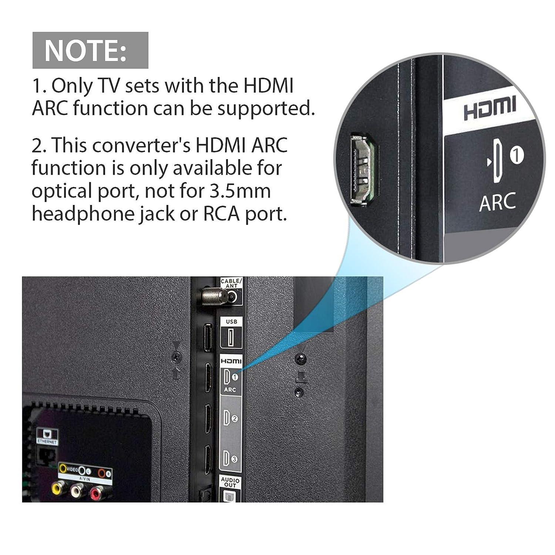 RCA +3.5mm Convertidor de Audio est/éreo para Reproductor de BLU-Ray Xbox PS4 Pro Laptop HDTV HDMI 2.0 Extractor de Audio 4K@60Hz YUV 4:4:4 y Adaptador HDR HDMI a /Óptico Toslink SPDIF+R//L