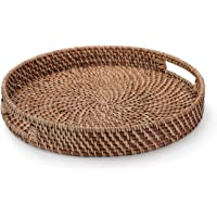 YANGQIHOME 13.8 inch (35cm) Rattan Round Bread Serving Basket Vintage Style Handcrafted Serving Tray Platter with Cut-Out Handles, Storage Organizer Basket 11 inch (28cm) Brown