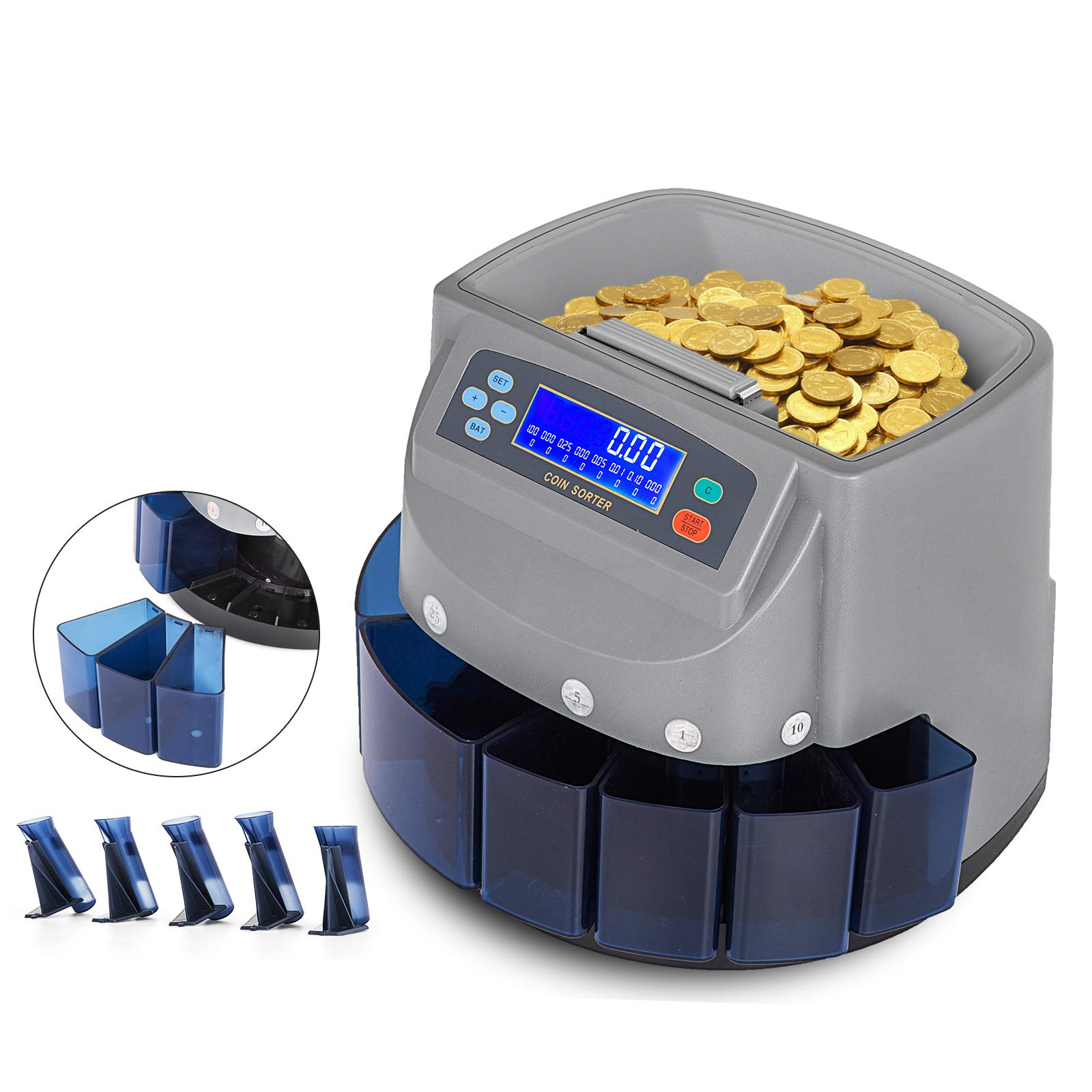 VEVOR Coin Counter 270 Coins/Min Coin Sorter LCD Display Screen Coin Counter Machine US Automatic Coin Counter Displays Total Value(270 Coins/Min,LCD) by VEVOR