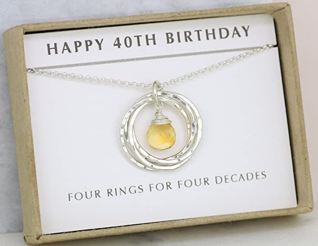 40th Birthday Gift November For Citrine Necklace Wife Sister