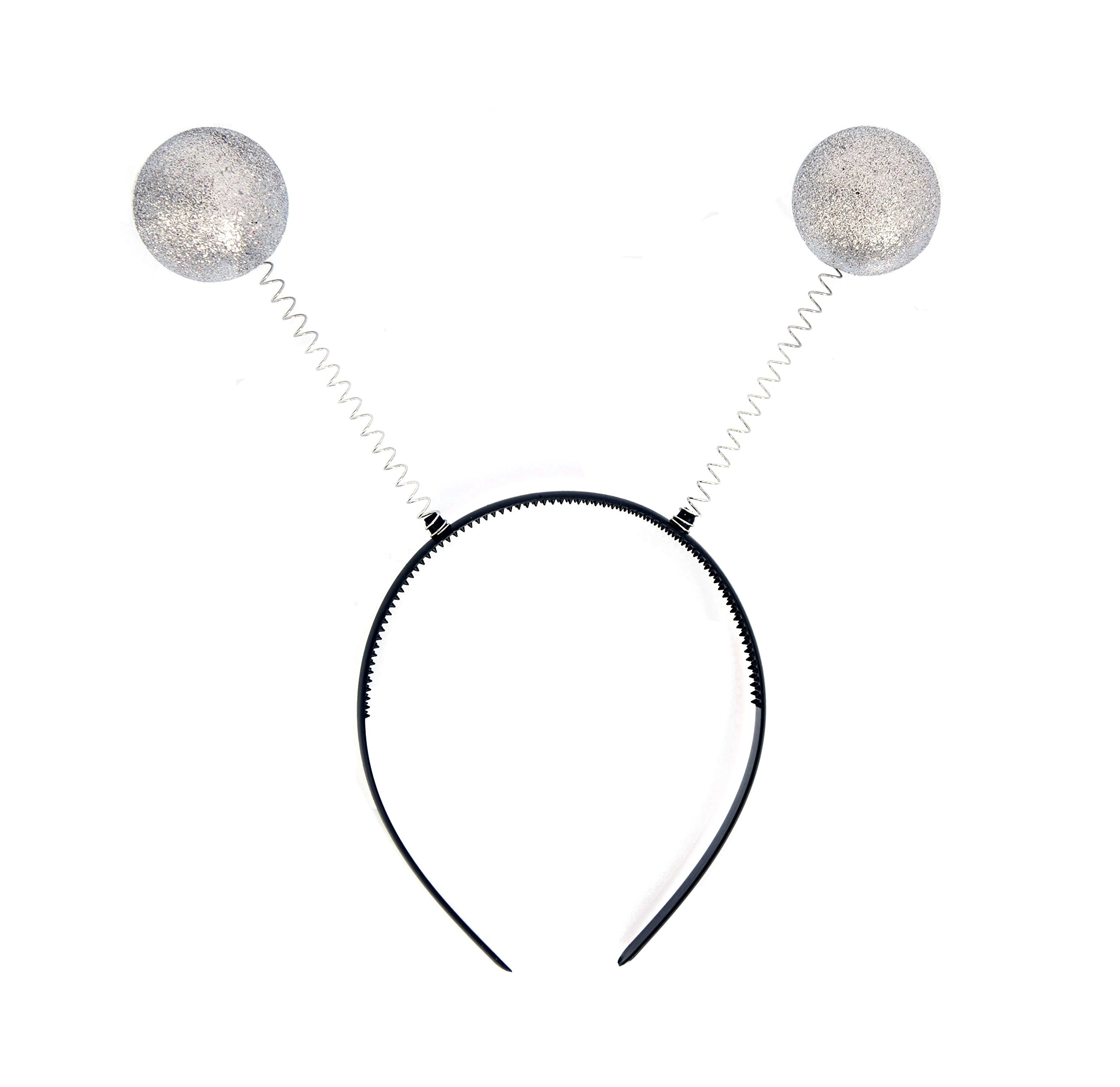 NNasell Crazy Martian Antenna Headband Boppers - Funny Party Accessory Costume addon (Silver)