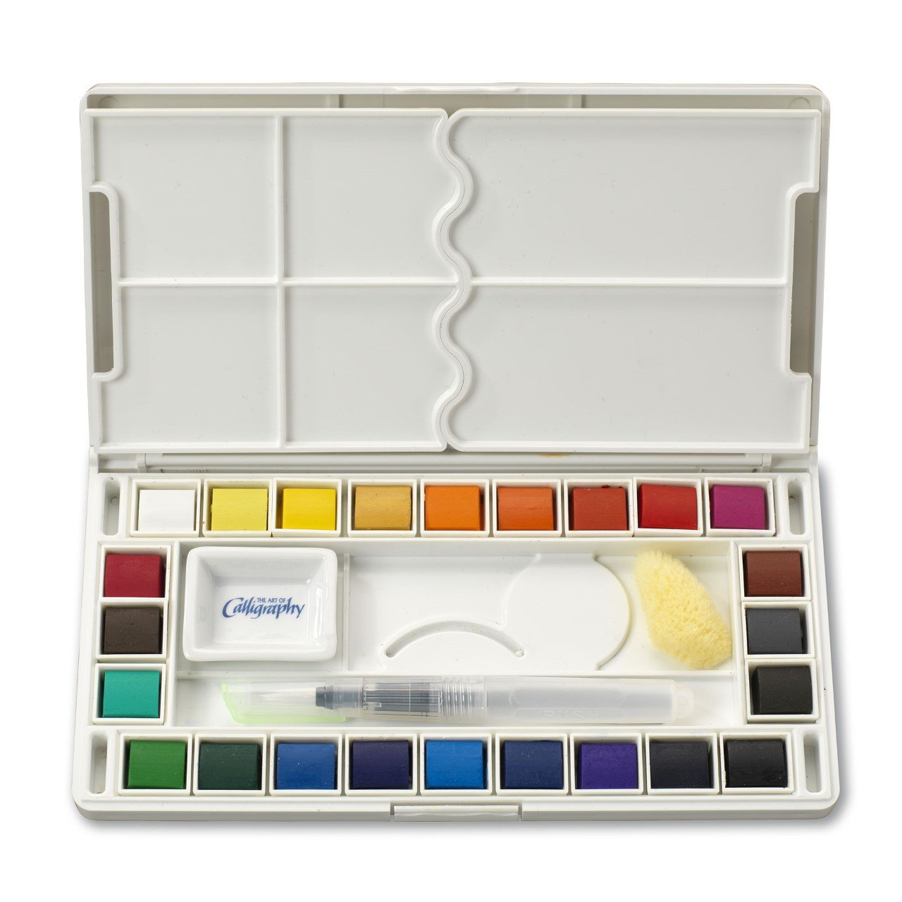 Jerry Q Art 24 Assorted Water Colors Travel Pocket Set- Free Refillable Water Brush With Sponge - Easy to Blend Colors - Built in Palette - Perfect For Painting On The Go JQ-124