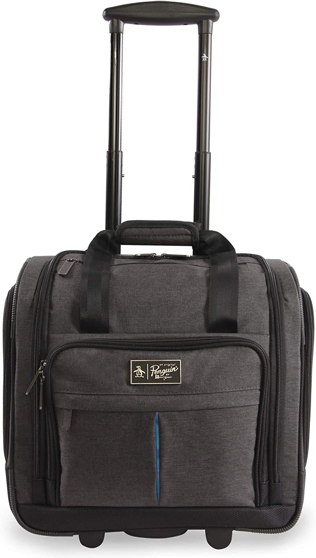 ORIGINAL PENGUIN Men's Ethan Wheeled Under The Seat Carry On Bag, Black Crosshatch, One Size
