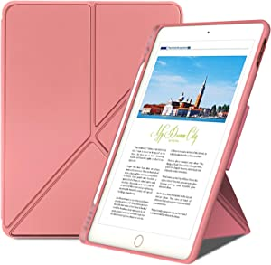Case for iPad 8th/7th Generation 10.2 inch 2020 & 2019 Release/iPad Air 3/iPad Pro 10.5 inch, Multi-Angle Magnetic Standing Protective Cover,Soft TPU Back Cover with Pencil Holder. (Pink)