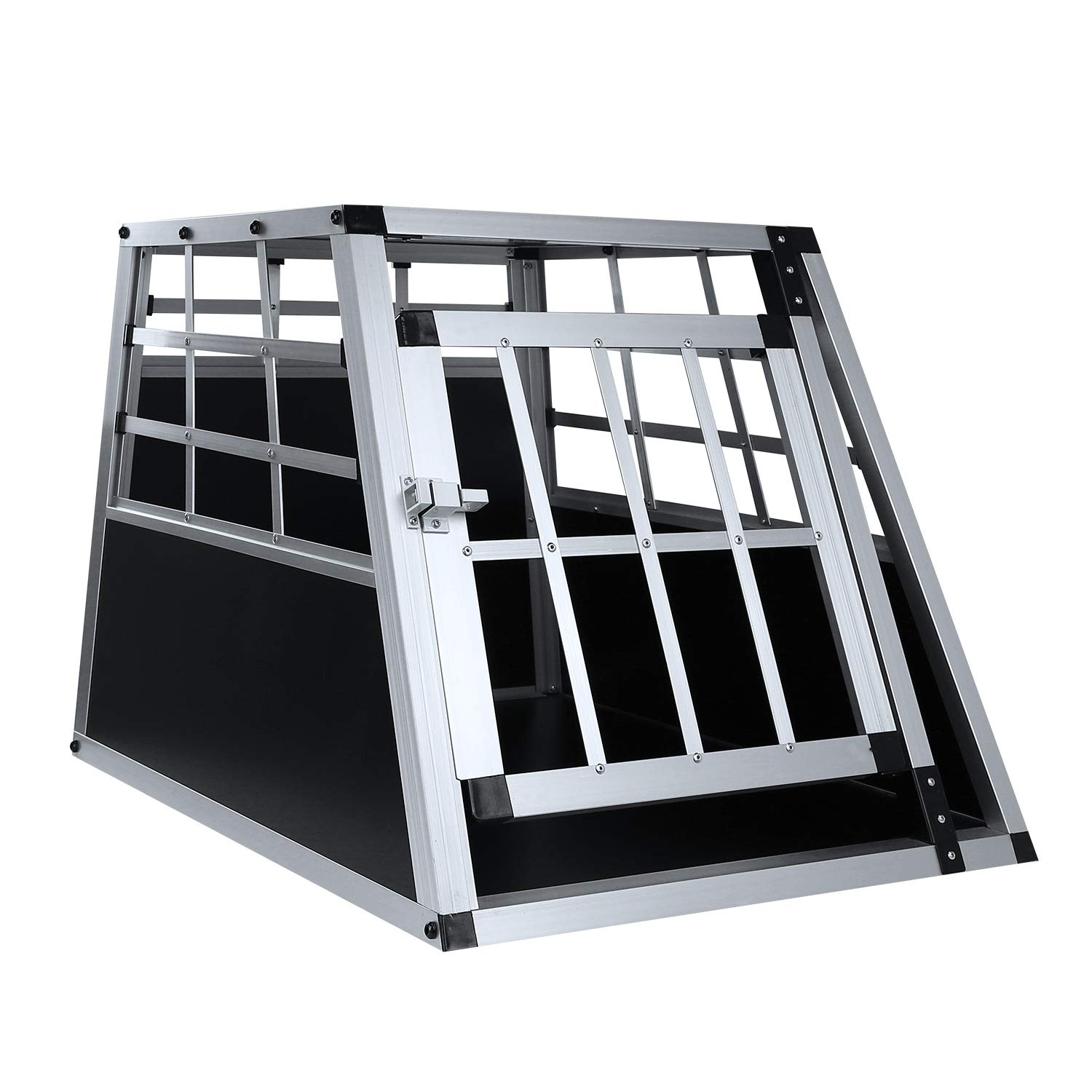 Al Alloy Dog Cage Car Transport Dogs Crate Aluminium Pet Travel Kennel Animal Carrier House Training Box Aluminium Flat Strip Big Double Door with Panel 104/×91/×69cm