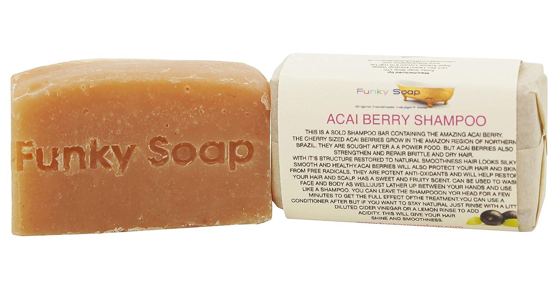 1 pezzo FANTASTICO Acai BACCA SHAMPOO BAR 100% Naturale Artigianale aprox.65g Funky Soap