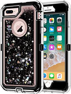 iPhone 8 Plus Case, iPhone 7 Plus Case, Anuck 3 in 1 Hybrid Heavy Duty Defender Case Sparkly Floating Liquid Glitter Protective Hard Shell Shockproof TPU Cover for iPhone 7 Plus /8 Plus - Black