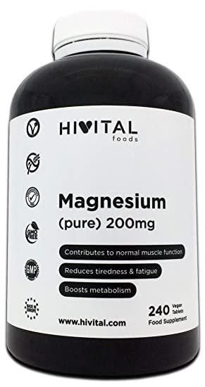 Magnesio puro 200 mg procedente de Citrato de Magnesio | 240 comprimidos (Suministro para 8 meses) | Mejora los sistemas muscular y nervioso, ...