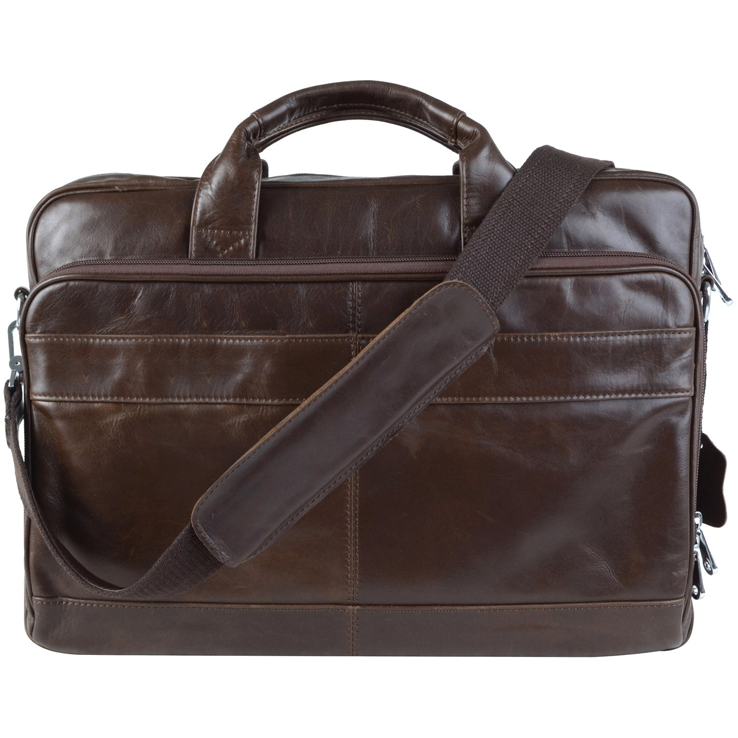 Jack&Chris Men's Genuine Leather Briefcase Messenger Bag Lawyer Laptop Bag (NM1871)