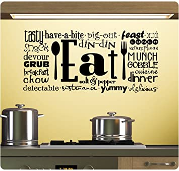 Amazon.com: Eat Tasty Breakfast Lunch Kitchen Wall Decal Sticker ...