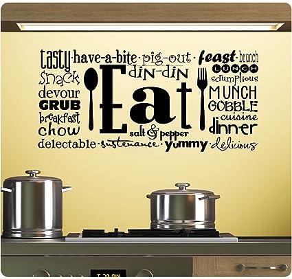 Amazon.com: Eat Tasty Breakfast Lunch Kitchen Wall Decal Sticker Art ...