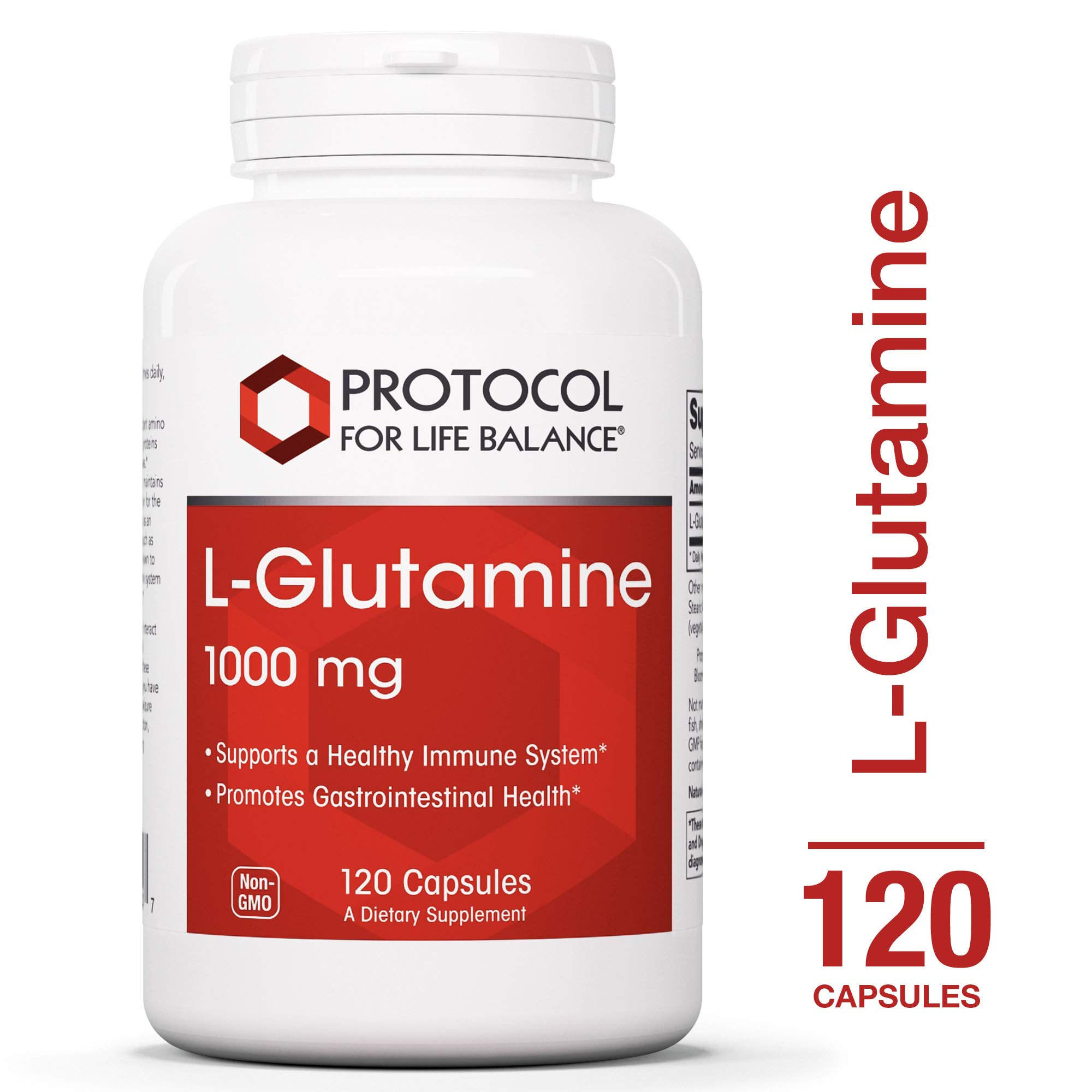 Protocol For Life Balance - L-Glutamine 1000 mg - Supports a Healthy Immune System and Gastro-Intestinal Health while Aiding Exercise Recovery - 120 Capsules by Protocol For Life Balance
