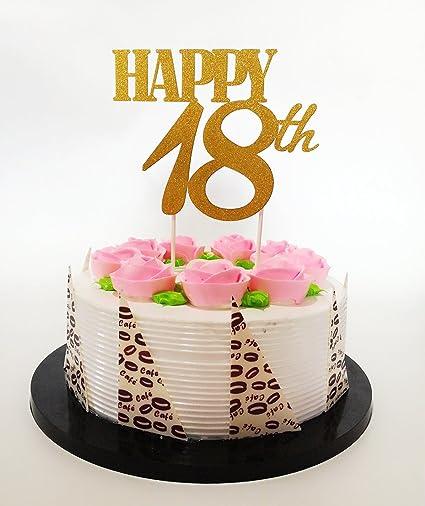 Gold Glitzer Happy 18th Birthday Cake Topper Forever 18 Partyzubehor Geburtstag Party Dekoration Amazonde Spielzeug