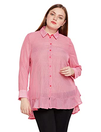 dd8531274 oxolloxo Women's Plus Size Cotton Full Sleeves Striped Shirt (Pink_XL)