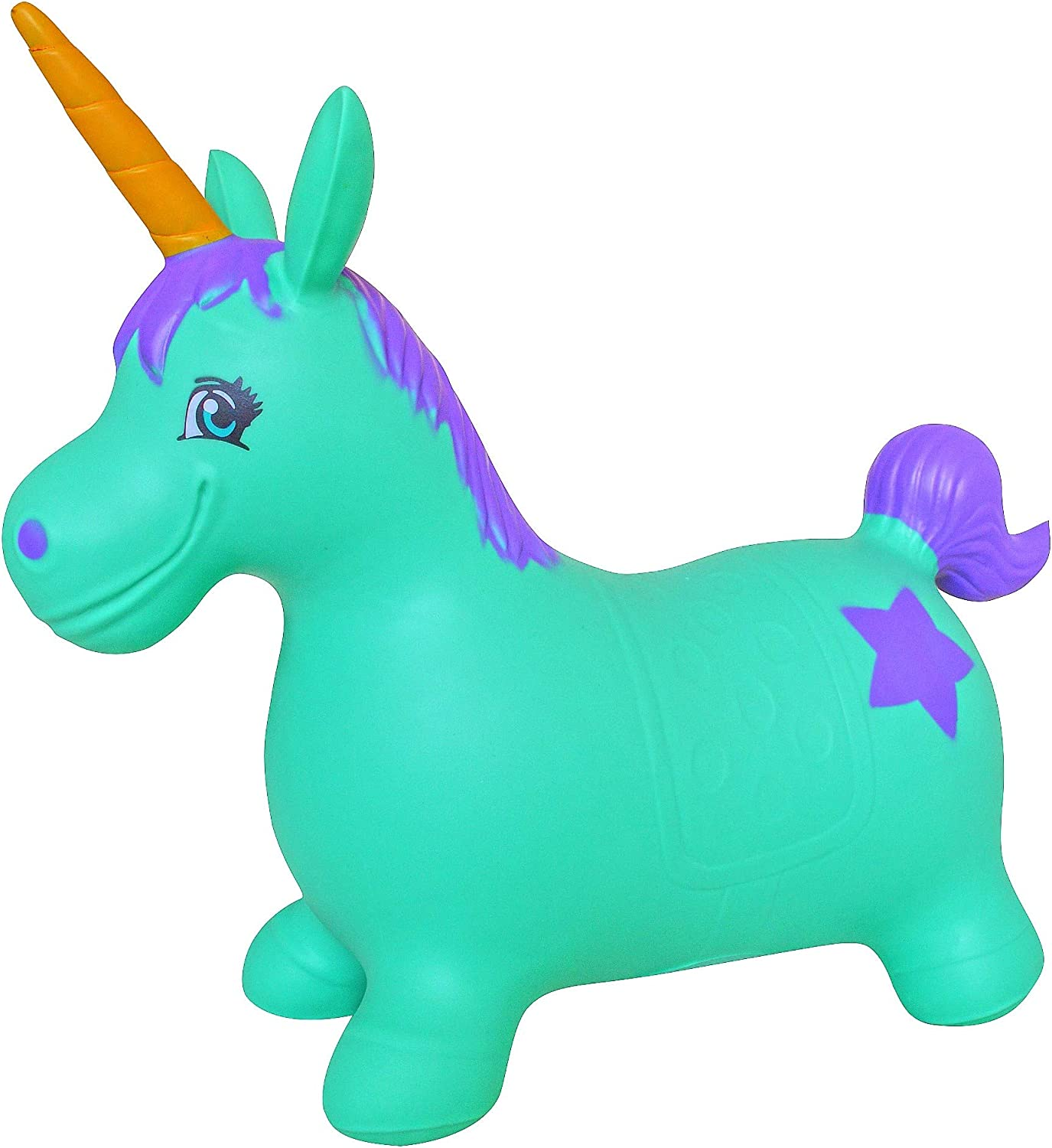 AppleRound Unicorn Bouncer with Hand Pump, Inflatable Space Hopper, Ride-on Bouncy Animal (Turquoise)