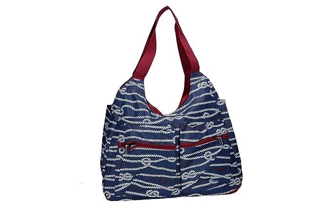 GIANMARCO VENTURI Borsa mare piscina donna blu a spalla apertura zip VV205 964f03bc214