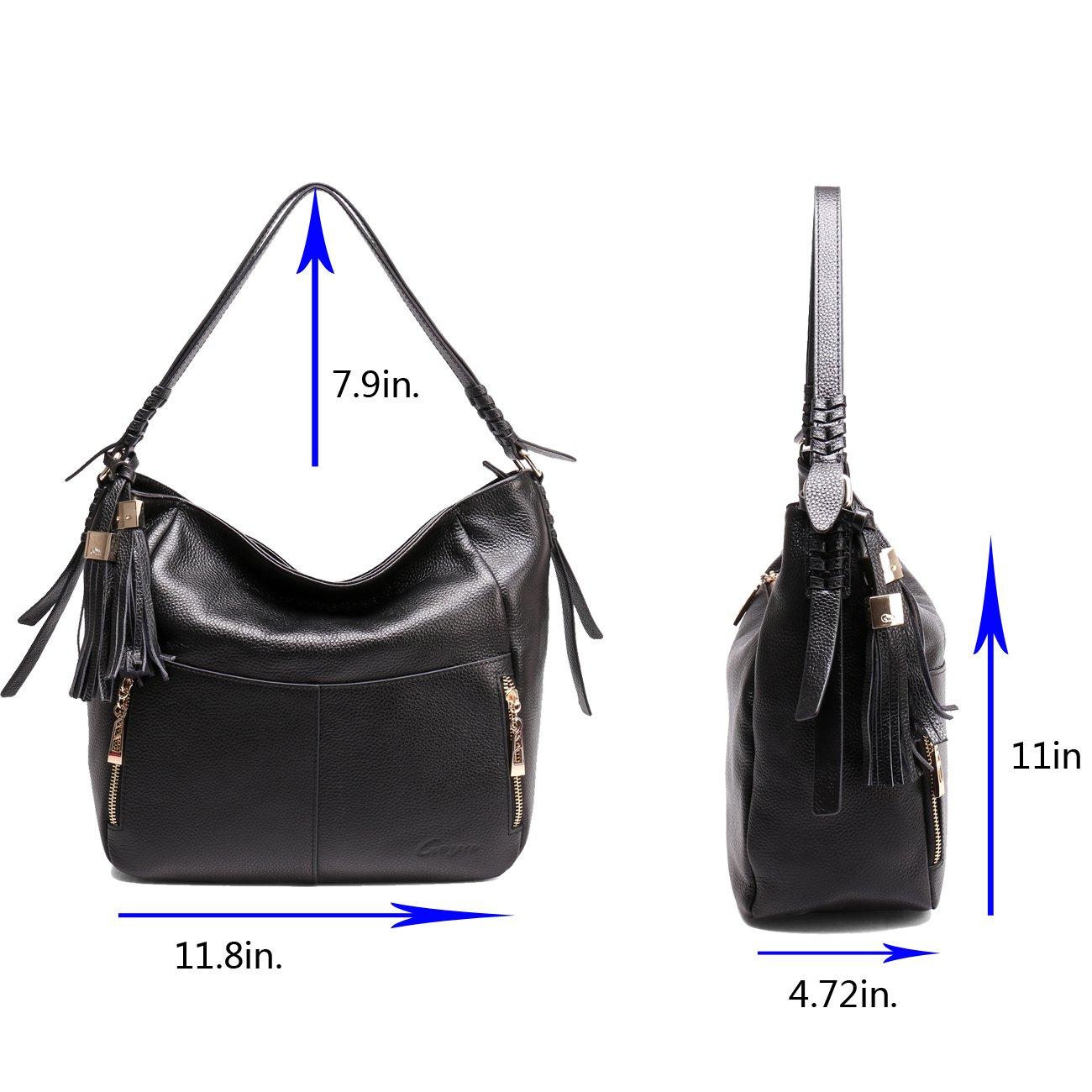 Geya Women's Fashion Genuine Leather Handbag Shoulder Handbag with Imported Soft Hot Leather (Black) by Geya (Image #3)