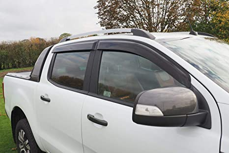 Logan4x4 D/éflecteurs dair pour Ford Ranger Double Cab Wind Deflectors 2012-2020