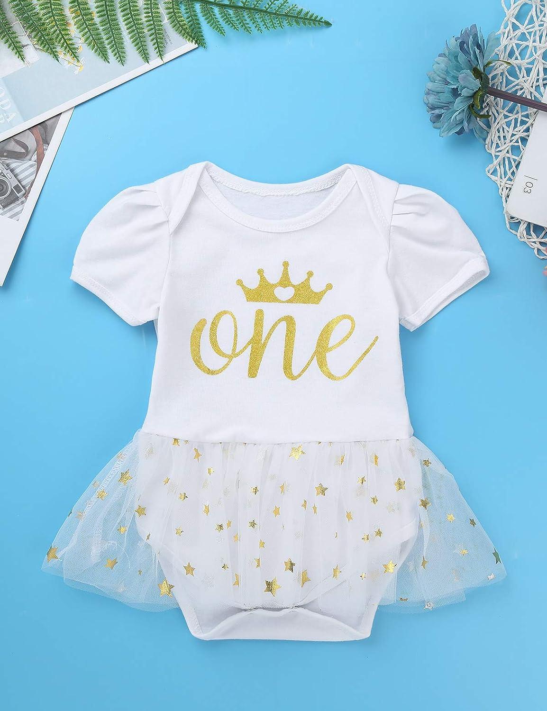 FEESHOW Newborn Baby Girls My First Birthday Outfit Tutu Romper Golden Crown Headband Crib Shoes Set