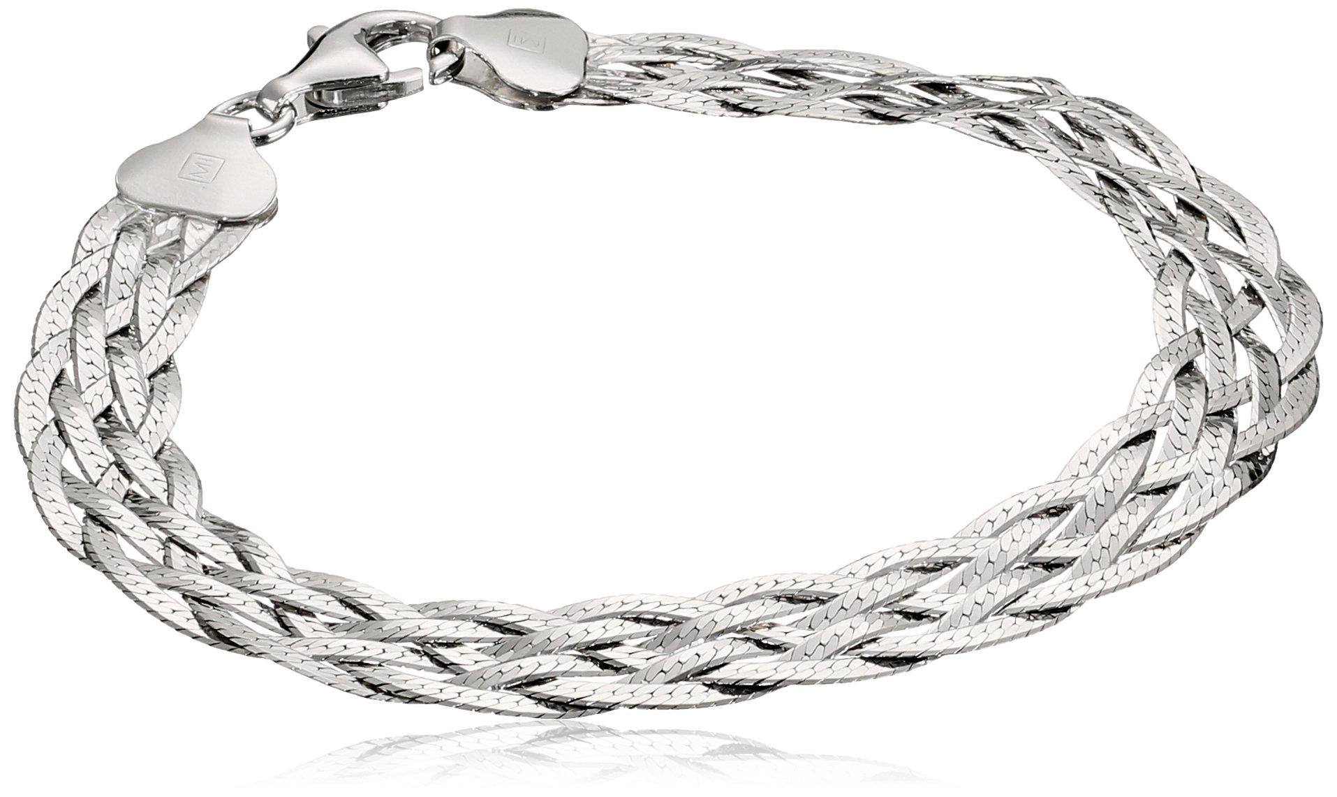 Italian Sterling Silver Six-Strand Braided Herringbone Bracelet, 7.5''