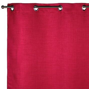 Madura Rideau Occultant à oeillets LINA Rouge Rose 200 x 280 cm ...