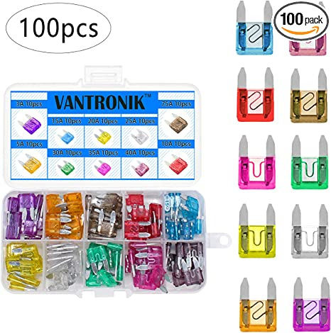AHL 100pcs Auto Motorcycle Car Boat Truck Blade Fuse Box Assortment 5A 7.5A 10A 15A 20A 25A 30A 35A 40A 50A