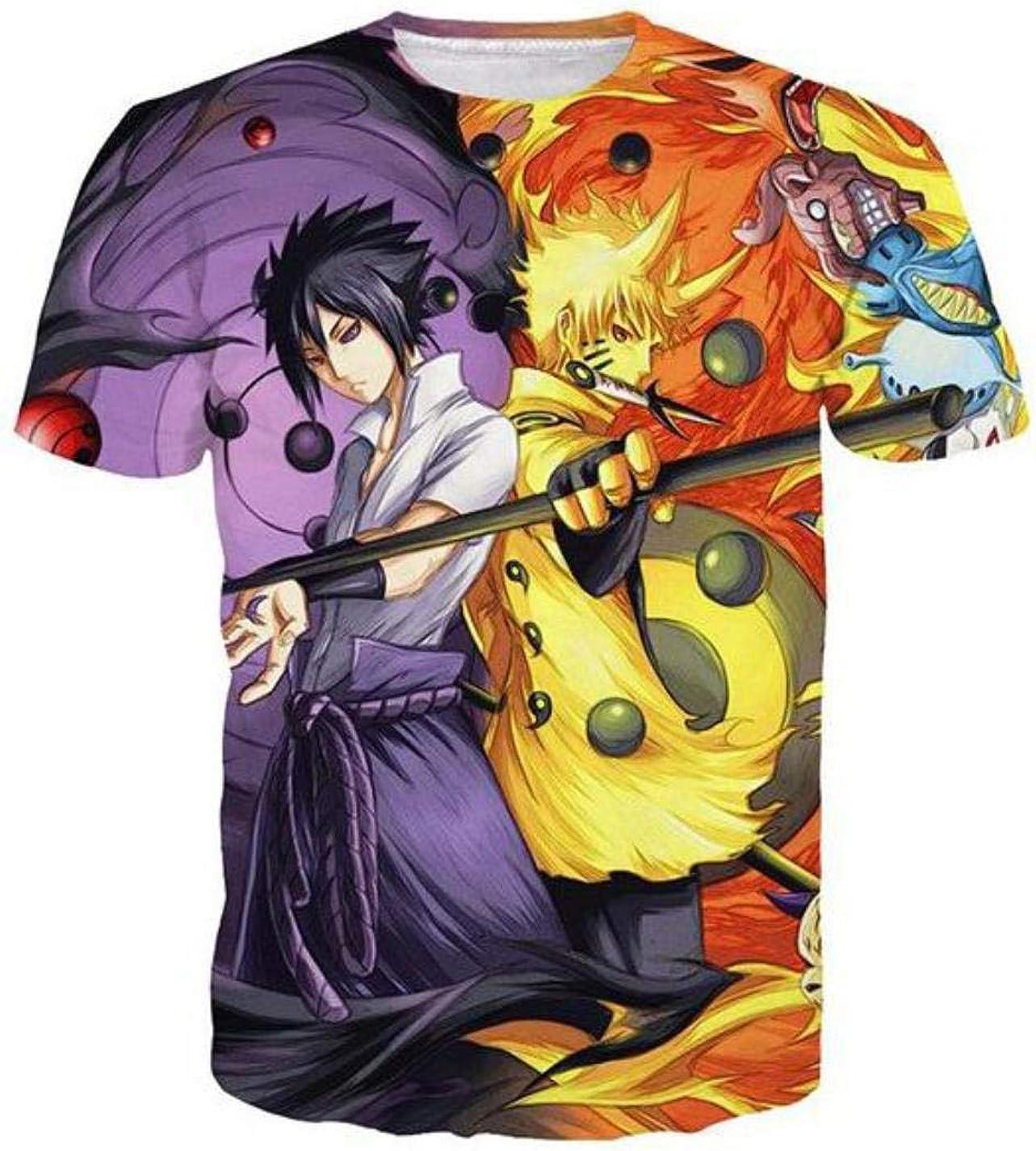 HUASON Ni/ños Naruto Camiseta 3D T-Shirt Anime de Jap/ón Camiseta Impreso con Uzumaki Unisex Uchiha Manga Corta M