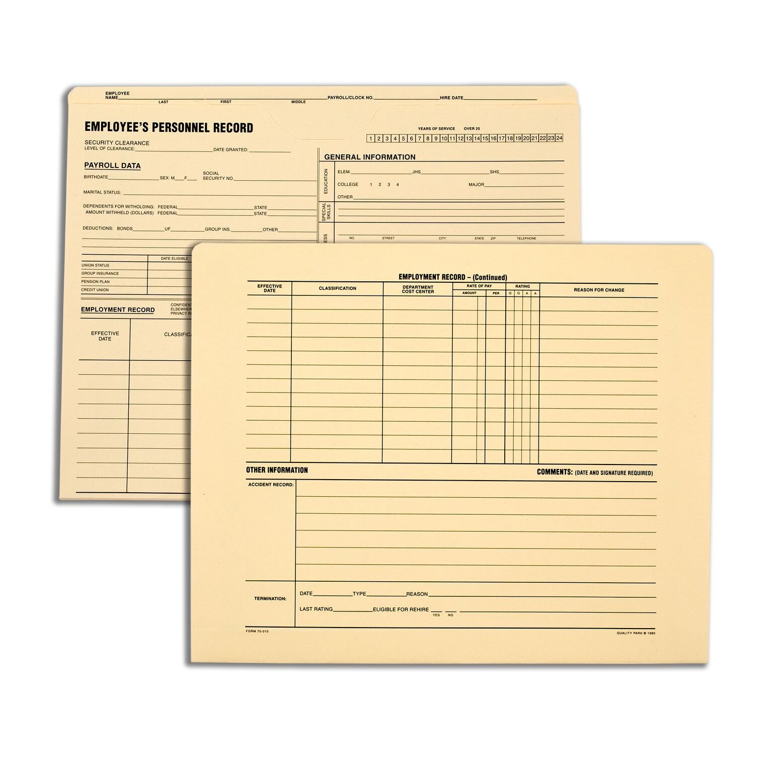 Quality Park Personnel File Folders, 9.5 x 11.75 Inches, Manilla, Pack of 25 (70010)