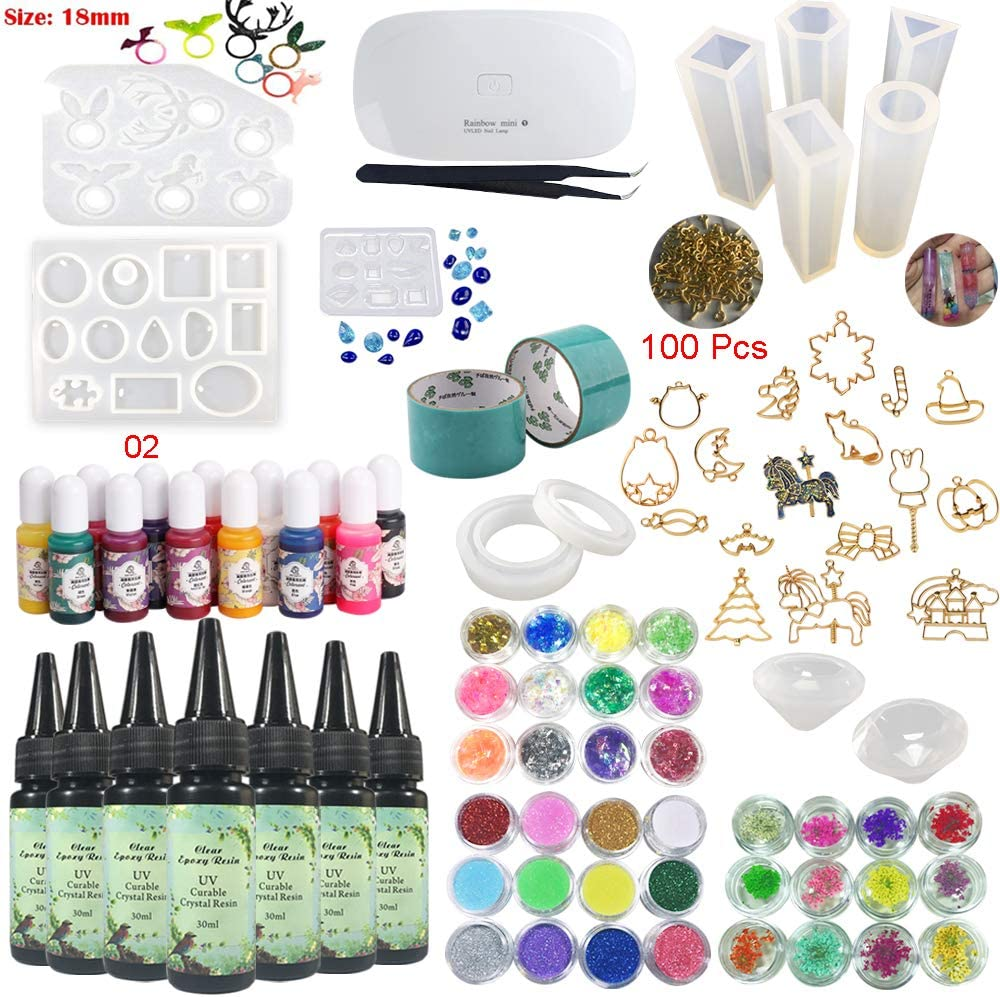 36 Decorations Embellishments /& Tweezers /& Light UV Epoxy Resin Crystal Clear for Craft Jewelry Making Kit 7*30ml with Pigments Molds Bezels for Bracelets Pendants Diamonds Earrings Rings Necklaces