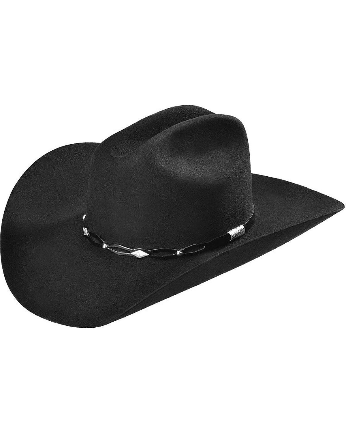 Stetson Men's 6X Fur Felt Brimstone Cowboy Hat Black 7 1/4