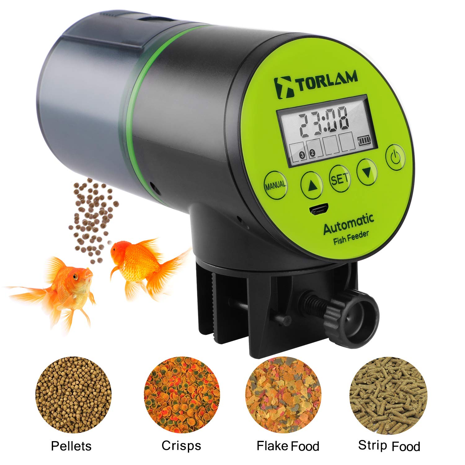 Torlam Automatic Fish Feeder, Moisture-Proof Electric Auto Fish Feeder,Aquarium Tank Timer Feeder Vacation &Weekend 2 Fish Food Dispenser