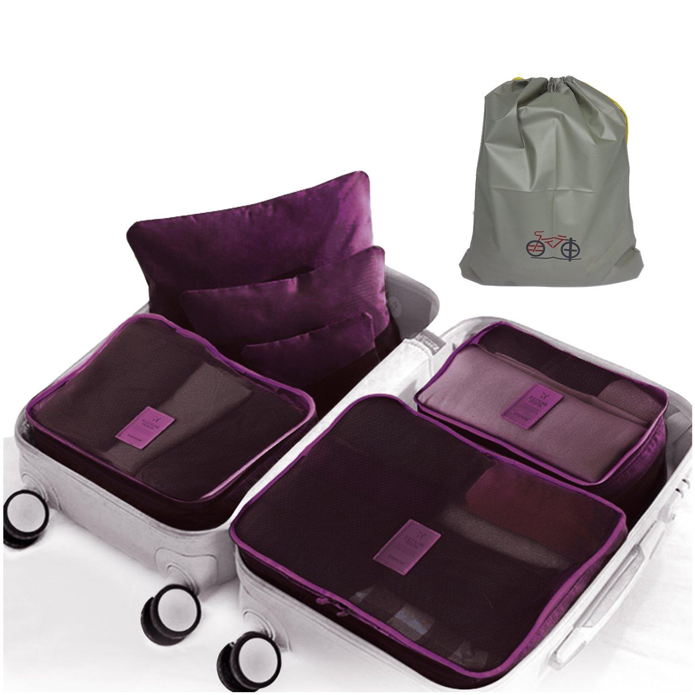 Sattaj|Packing Cubes|New Improved Better Quality Zippers|6 pcs Luggage Packing Organizers Packing Cubes Set for Travel + 1 Bonus Drawstring Shoe Bag Sattaj Creations Inc.