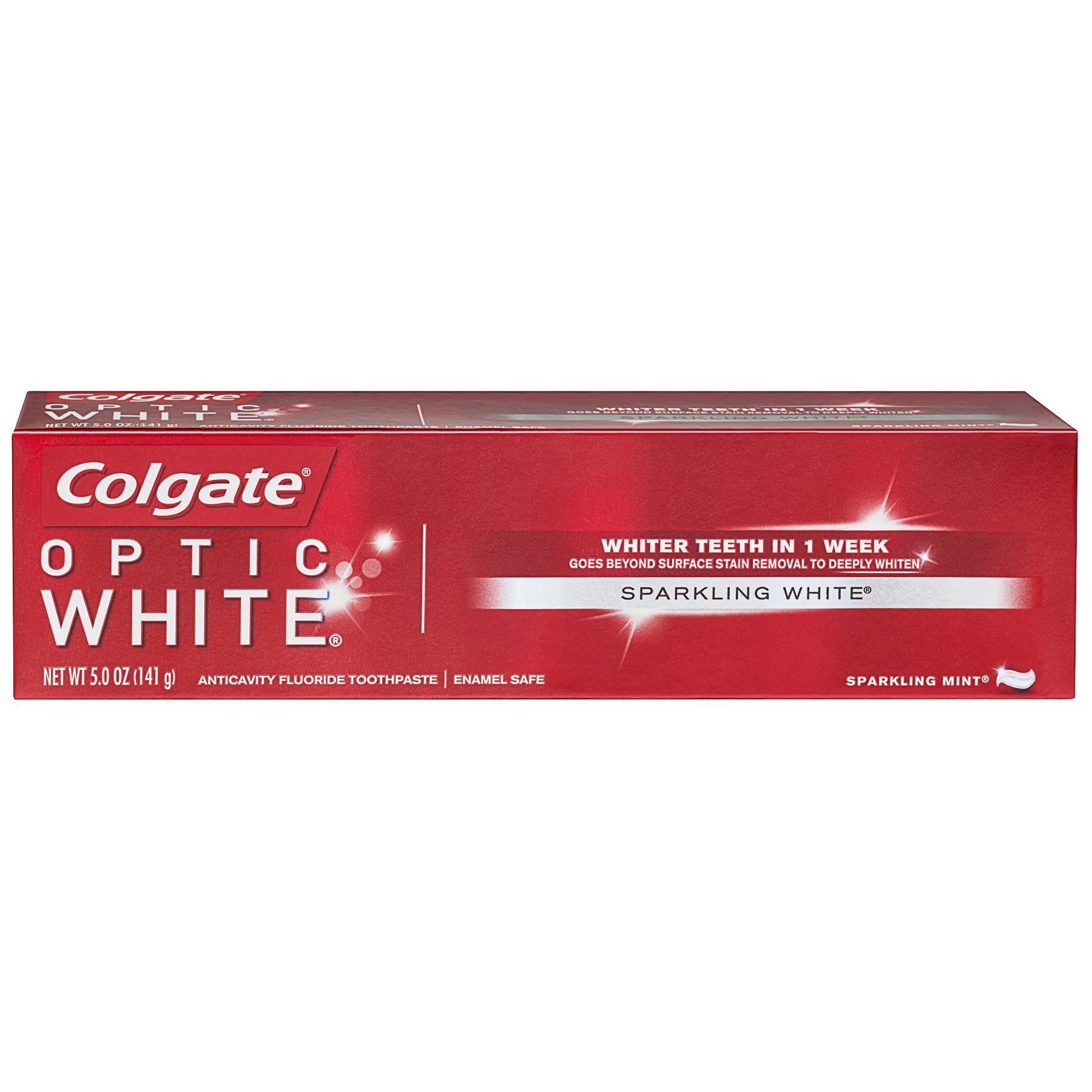 Colgate Optic White Whitening Toothpaste, Sparkling Mint - 5 ounce (6 Pack)
