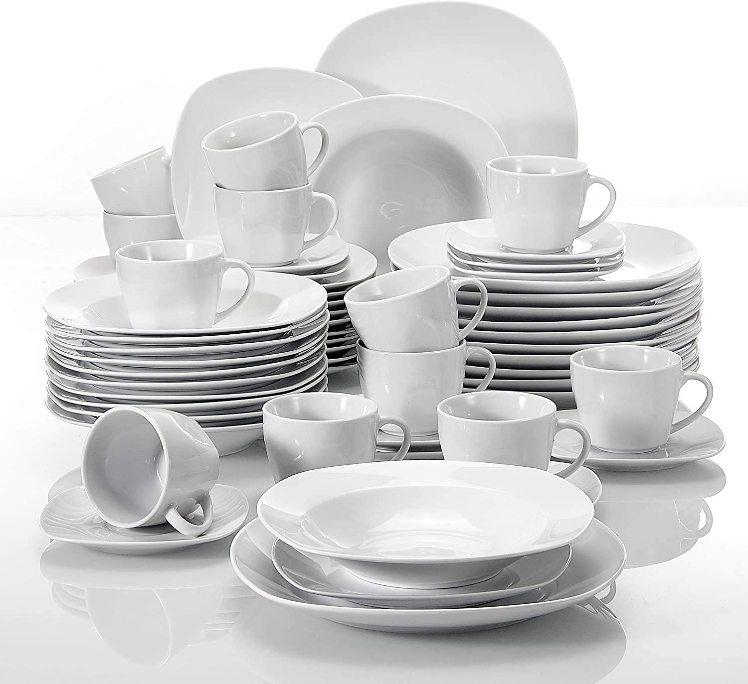 MALACASA Square White Dinner Sets, 60-Piece Porcelain Dinnerware Set with 12-Piece Dinner Plates, Dessert Plates and Soup Plates, Cups and Saucers Sets, Service for 12, Series Elisa